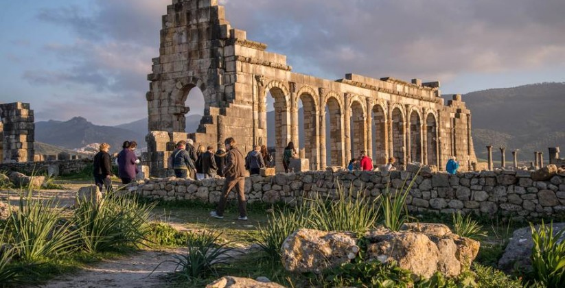 the roman ruins of volubilis near meknes city