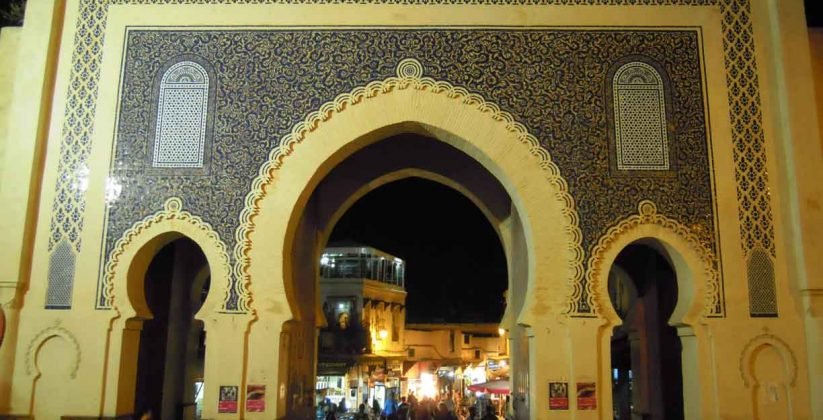 bab boujloud by night, fes medina sights